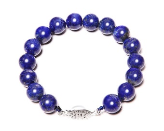 Natural Lapis Bracelet and 925 Sterling Silver