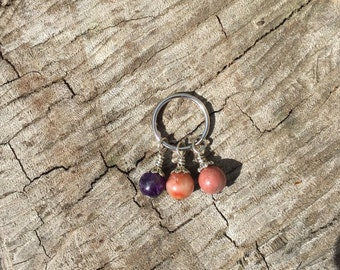 Unique pet collar charm, amethyst, rhodonite, agate, natural stone beaded accessory