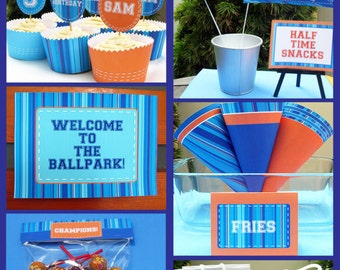 Sports Party Invitations & Decorations - full Printable Package - INSTANT DOWNLOAD with EDITABLE text - you personalize at home