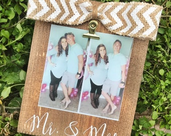 Mr. & Mrs. / INSTAGRAM PHOTO Frame/ Rustic Stained Picture Frame