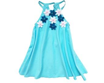 Blue Floral Twirling Dress