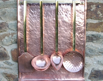 A Very Nice French Hammered Copper Kitchen Utensil Holder With  Copper And Brass  Utensils Great For A  Farmhouse / Country Kitchen