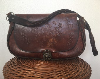 vintage 60's LARGE TOOLED LEATHER floral butterfly bag