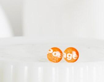Stud earrings | Postage stamp | American | Orange | Small