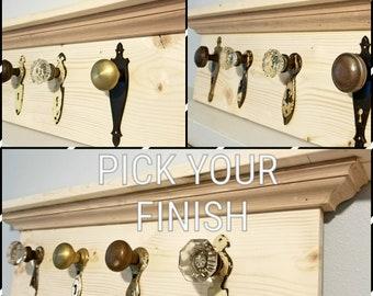 Antique Doorknob Coat Rack, Farmhouse Door Knob Coat Rack, Antique Glass Door  Knob Coat