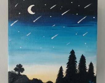 Shooting Stars Landscape - Oil on Canvas