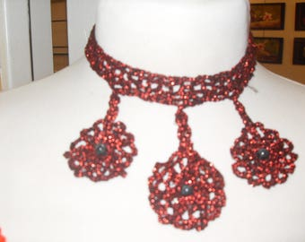 crochet cotton necklace