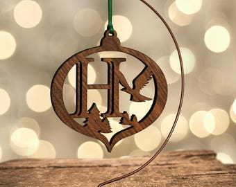 Hawk Ornament with Letter H, Laser Cut Hardwood
