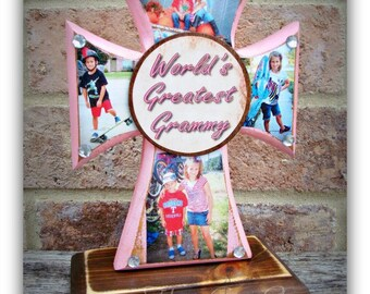 Cross - Wood Cross - Mini PHOTO Cross - You choose the colors and plaque saying - holds up to 4 photos