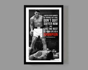 Ali Poster Boxing Poster - Champion Quote Print - Inspirational, Motivational, Sports, Historic