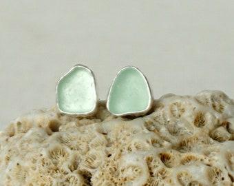 Seafoam Green Sea Glass Stud Earrings - Genuine Sea Glass, Natural Sea Glass, Sea Glass Jewelry, Beach Glass Jewelry, Beach Glass Earrings
