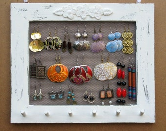 JEWELRY ORGANIZER HOLDER Widthwise Cream Shabby Chic / 25 - 40 Earrings / 24 - 36 Necklaces