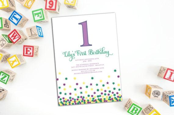 Children's Birthday Party Invitation with Envelopes, Falling Stars Invitation, Party Invitations, Personalized Children's Party Invitations