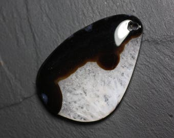 Gemstone pendant - Agate and Quartz Black and white drop 60 mm with imperfection N34 - 4558550085825