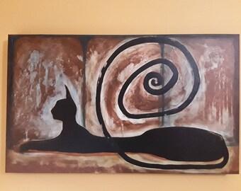 Black sphinx cat painting