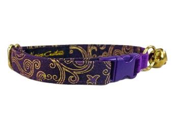 Purple Cat Collar, Elastic Cat Collar, Outdoor Cat, Kitty Collar, Custom Cat Collar, Safety Cat Collar, Soft Cat Collar, Girl Cat Collar