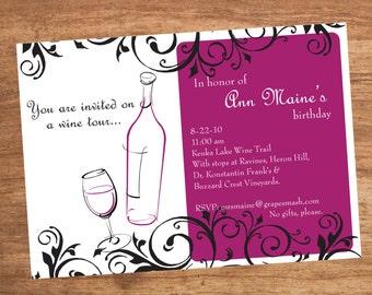 Wine Party Invitation Digital File You Print