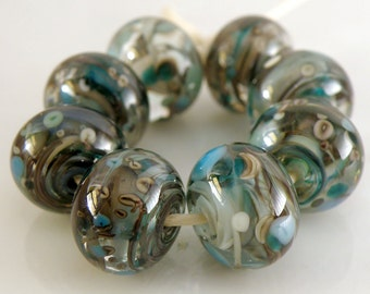 Rocky Beach SRA Lampwork Handmade Artisan Glass Donut/Round Beads Made to Order Set of 8 8x12mm