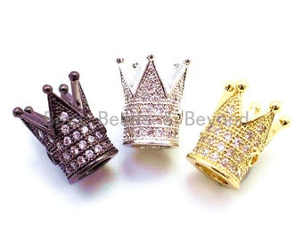 1pc/2pcs/4pcs CZ Royal Crown Clear Micro Pave Beads, Cubic Zirconia Crown Spacer Beads, Pave Beads, 12x9.8mm, sku#G115