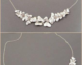 Silver Statement Necklace // Luxury Flower Jewelry // Best Friend 30th Birthday Gift // collier de déclaration de fleurs