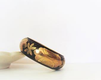 Vintage Brass Black Chunky Bangle / Hippie Boho Ethnic / Handmade Bangle