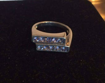 SALE 78. Tanzanite and Sterling Size 8 Gemstone Ring