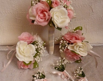 Wedding flower set. Bridal set. Pink & white bouquet set
