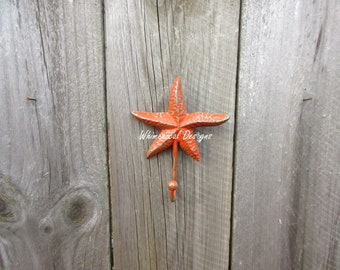 Cast Iron Starfish, Starfish Hook, Towel Hook, Beach Decor, Nautical Hook, Beach Bathroom, Bathroom Hook, Mermaid Nursery - SUNBURN ORANGE