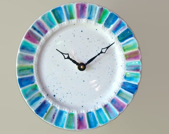 Hand Painted Abstract SILENT Wall Clock in Violet Blue Turquoise, 8-1/2 Inch Porcelain Plate Clock, Kitchen Wall Decor - 2153