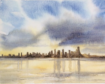 Seattle Skyline, Seattle painting, Seattle watercolor, West Seattle, Seattle skyline watercolor, Seattle large print