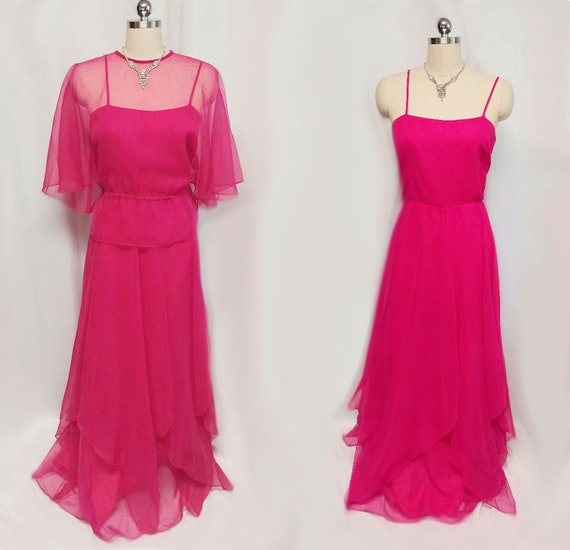 Vintage Saks Fifth Avenue Chiffon Evening Gown & Jacket pink
