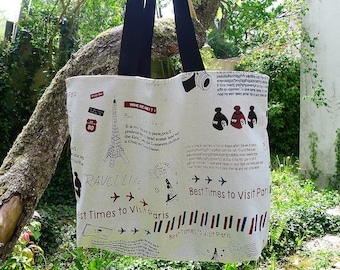 Large tote bag, beach bag, tote bag, large bag theme, travel, purse, practical bag, travel bag, grocery bag, vintage bag, bag