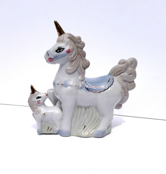 Vintage 1970s Ceramic Unicorn Mom and Baby