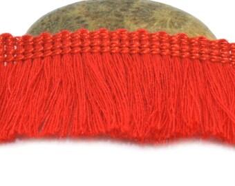 50cm red 25mm cotton fringe trim
