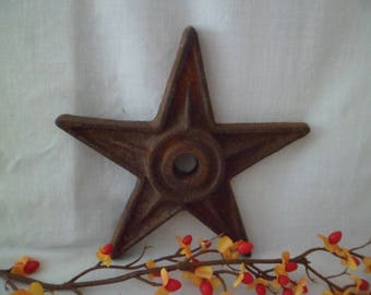 """Antique Vintage 6 1/2"""" Cast Iron Architectural Building Star Salvage From PA #4"""
