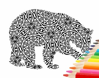 Pretty Downloadable Adult Coloring Page Bear to Colour, Instant Digital PDF Grown Up Coloring Sheet, Printable Coloring Page for Adults