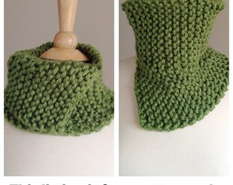 Knit scarflette pattern, knit cowl pattern, Chunky knit neckwarmer, circle scarf pattern, unique scarf pattern, knit scarf pattern