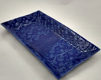 Cobalt Blue Serving Tray Stamped Floral Texture Handmade Pottery by Daisy Friesen- READY TO SHIP