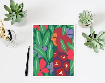 Woman print, botanical print, woman art, landscape print, forest print, colorful wall art, woman portrait, mid century,  modern print, green
