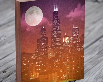 Chicago Skyline Art - Sears Tower - Willis Tower - Chicago Skyline Print - Chicago Night - Chicago Abstract Art