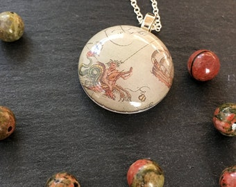 """Fused Glass and Sterling Silver Vintage Map Pendant_ """"Neptune"""""""