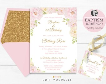 Baptism 1st birthday invitation instant download boy baptism girl baptism 1st birthday invitation instant download girl 1st birthday baptism invitation rose baptism invitation floral baptism filmwisefo