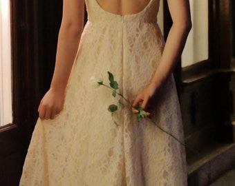 Backless wedding dress,Simple wedding dress, Beach wedding dress,Bohemian wedding dress,Fairy wedding dress,Unique wedding dress,handmade