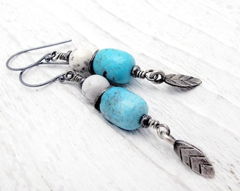 turquoise earrings, December gift, Hill tribe silver, sterling silver, turquoise jewelry, boho jewelry, December birthstone, leaf earrings