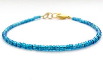 Ocean Blue AB Bracelet, Seed Bead Bracelet, Friendship Bracelet, Beaded Bracelet, Zen Yoga Bracelet, Ocean Blue Bridesmaid, Hawaiian Jewelry