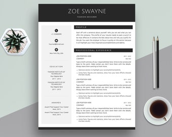 Creative Resume Template, Cover Letter Template for MS Word | Professional, Modern & Elegant CV | Black | A4 + US Letter | Instant Download