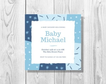 Funky Blue Pattern Baby Shower Invitation - Printable