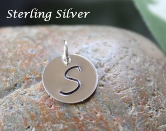 """Sterling silver initial charm, large initial, round tag -personalized hand stamped disc - 12.7mm round (1/2"""")"""