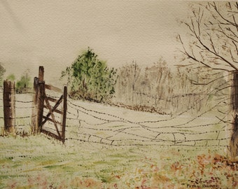 """watercolor painting,painting of old fence,wooded scene painting, landscape,10.5""""w x7'5""""h,""""BARBED WIRE FENCE"""",Peter Kundra, green pastures,"""