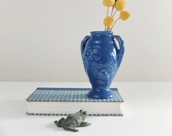 Cobalt Blue Shawnee Clover Vase, USA Pottery, Vintage Vase, Shawnee Pottery